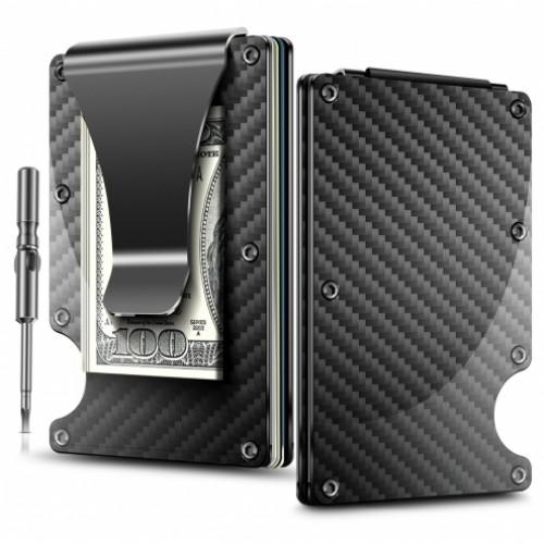 Minimalist Carbon Fibre Slim Wallet. Тонкий карбоновый кошелек с RFID-защитой